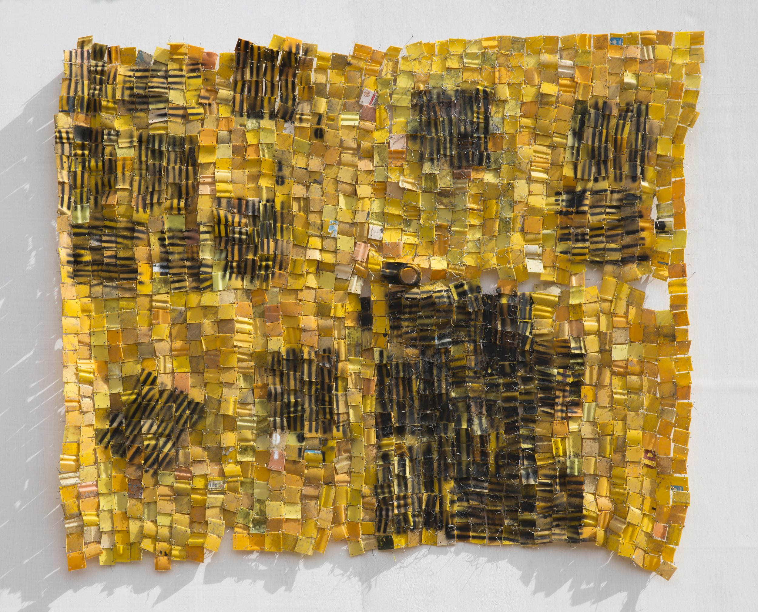 Serge Attukwei Clottey, Too far from home, 2017, Plastics, wires, and oil paint, 147.32 x 198.12 cm, Courtesy the artist and Gallery 1957