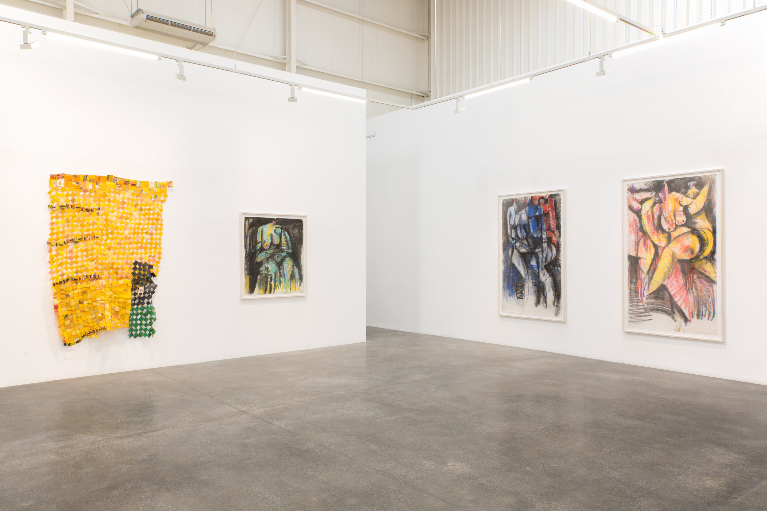 Installation view of The Displaced, Serge Attukwei Clottey's solo exhibition as part of the Gallery Takeover by Gallery 1957 at Lawrie Shabibi Gallery, Dubai. Image courtesy of Lawrie Shabibi.