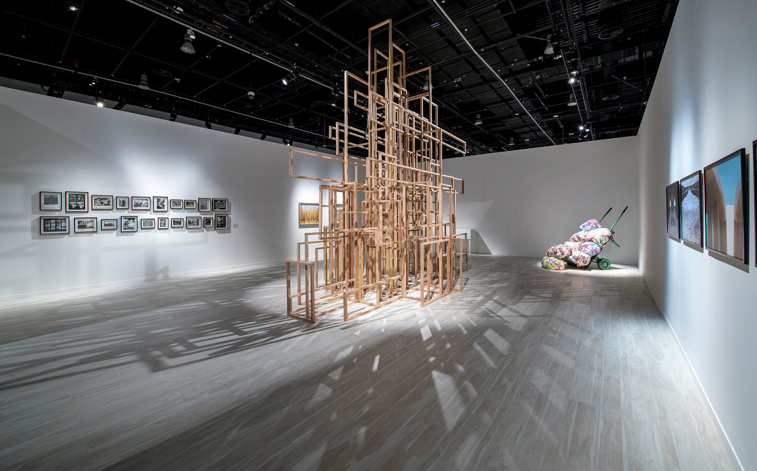Layla Juma's Settlement (2017) stands amid other works from ADMAF's collection of leading Emirati artists. Installed nstalled in Manarat Al Saadiyat, February 2018 as part of  From Barcelona to Abu Dhabi - Works from MACBA in dialogue with the Emirates. © Courtesy of Abu Dhabi Festival