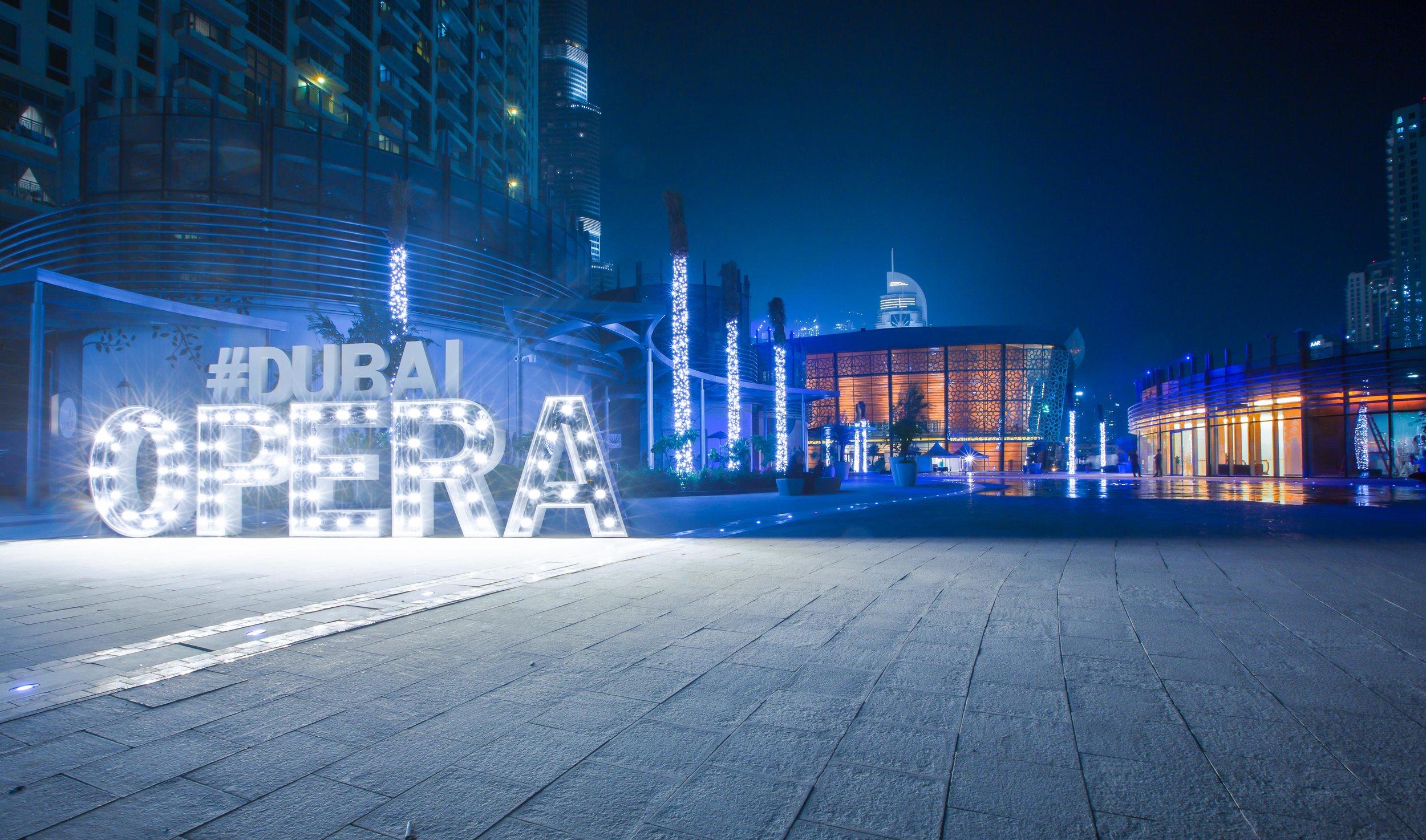 The facade of Dubai Opera during an event sponsored by Jaguar. Courtesy Dubai Opera