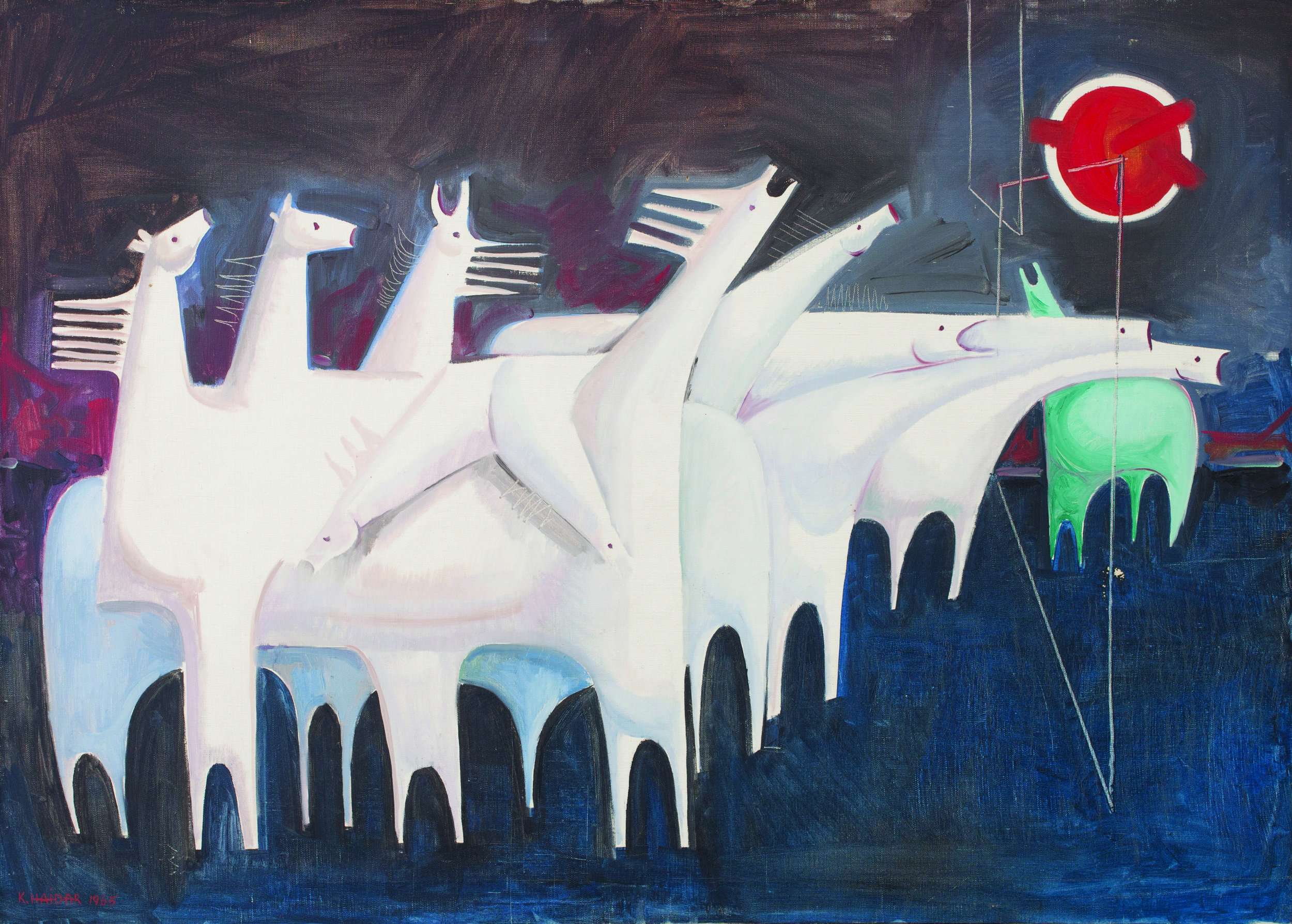 Kadhim Hayder.  Ten Fatigued Horses Converse with Nothing ( 1965). Courtesy of the Barjeel Art Foundation.