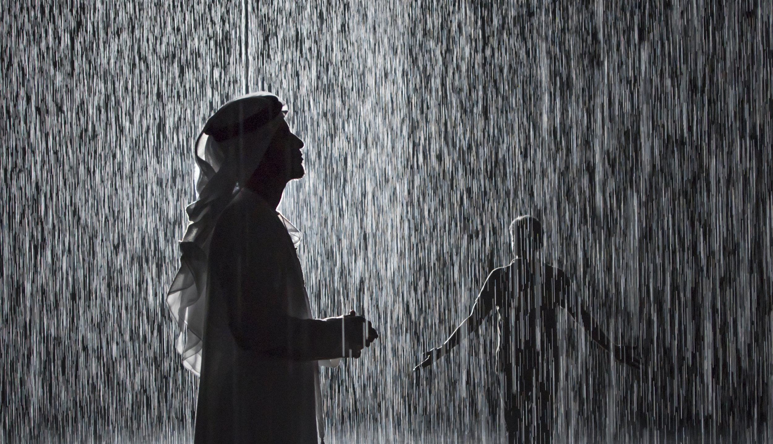 Random International, Rain Room,2012. Exhibited at Sharjah Art Foundation, 2018. Image courtesy of Sharjah Art Foundation