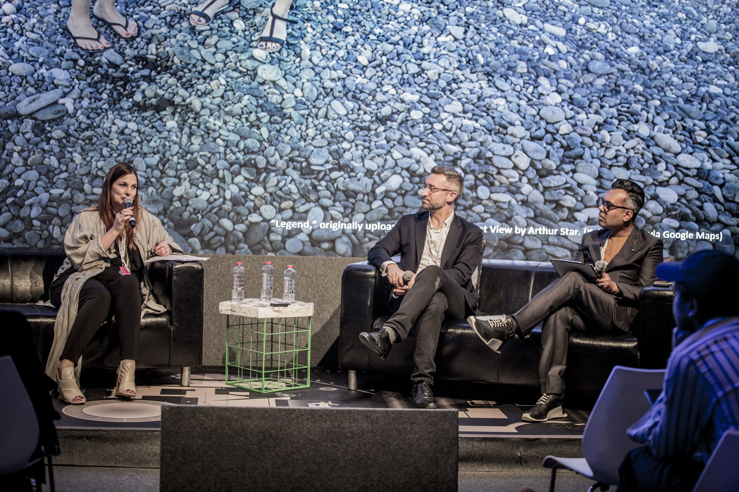 Marlies Wirth, Noah Raford and Shumon Basar giving opening remarks at Art Dubai's Global Art Forum 2018. Image courtesy of Art Dubai