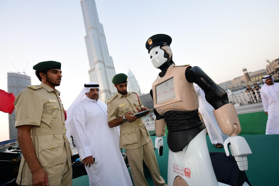 The first robotic policeman is currently undergoing testing in Dubai's Police Force. Image courtesy of Dubai Police Smart Services Department.