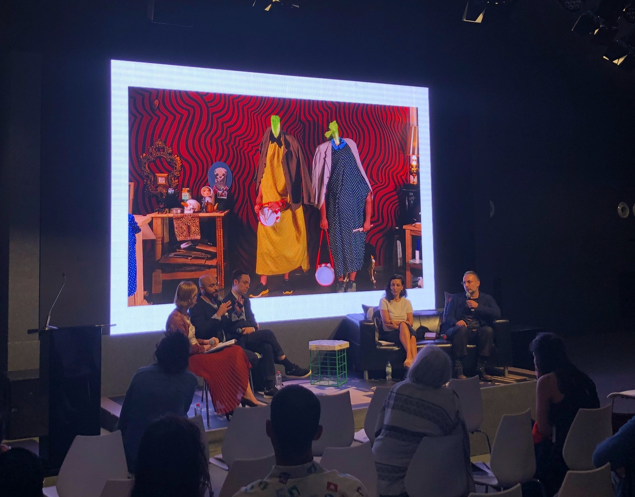 Ramin and Rokni Haerizadeh speaking at the Global Art Forum 2018 in a session titled I Am A Human Artist. Image taken by Anna Seaman