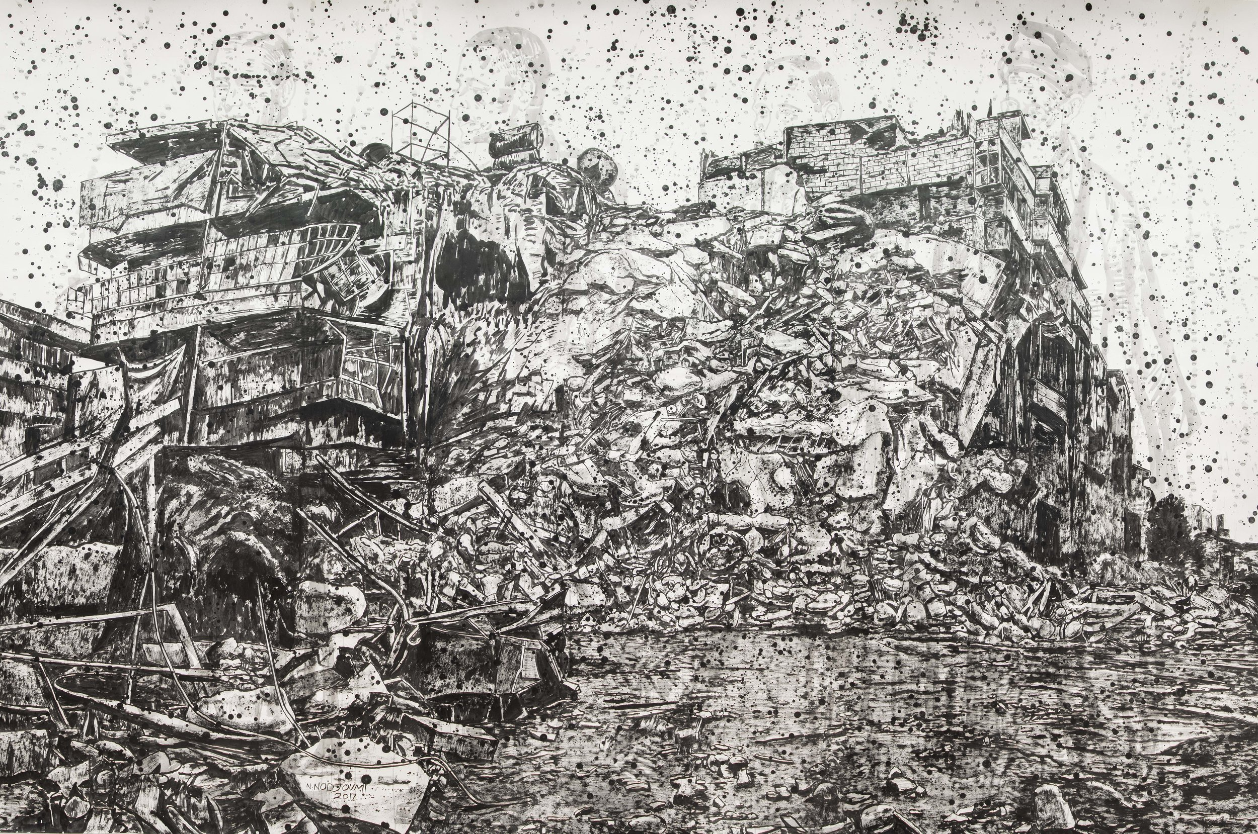 Nicky Nodjoumi. Here is Aleppo, 2017. Ink on paper.Courtesy of the artist and The Third Line