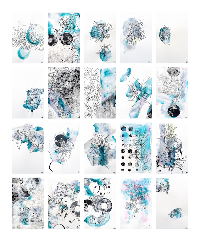 Katie Venner-Woodbridge. 20 drawings (ink and watercolour) from the 100 Days series. Courtesy of the artist.