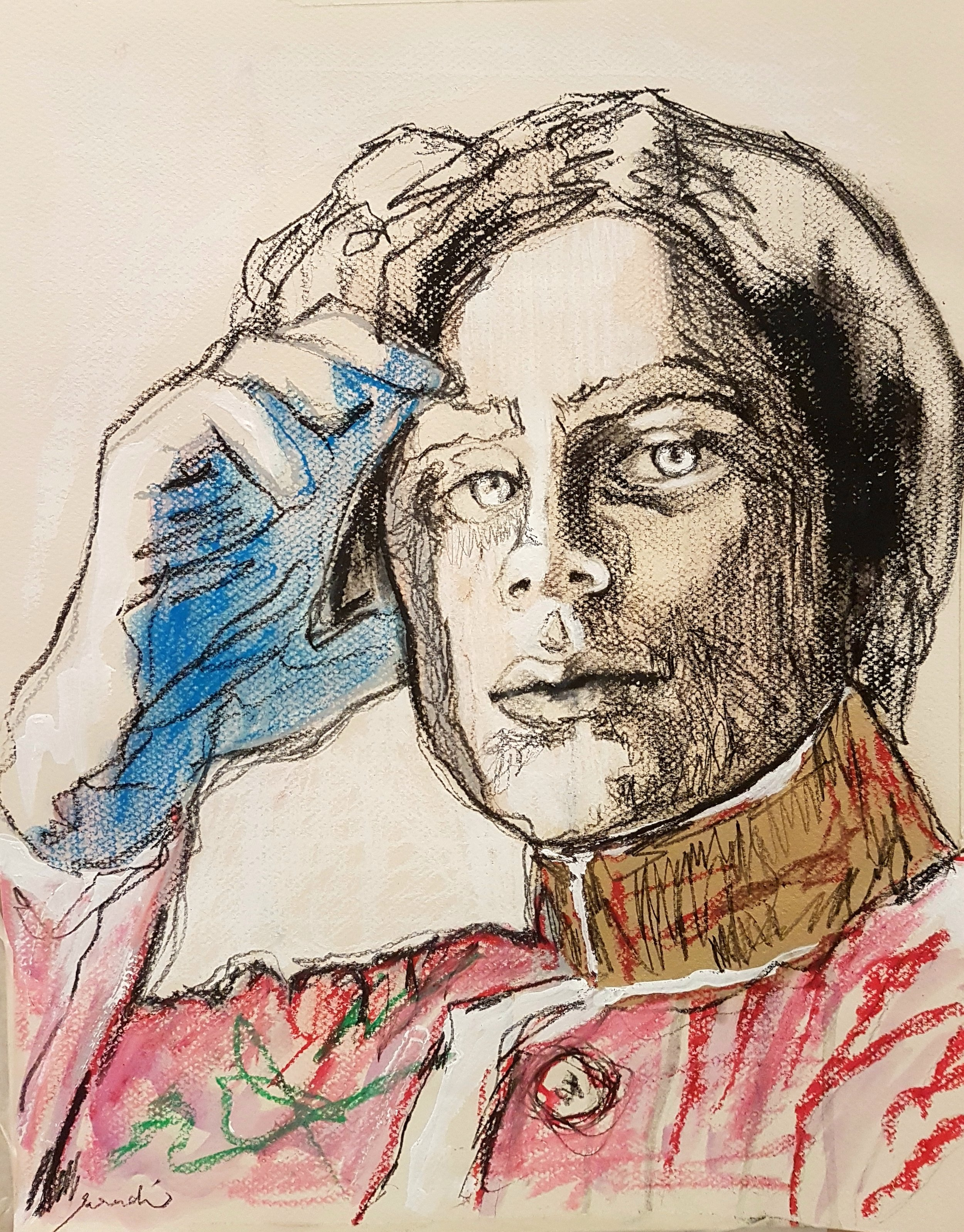 Sarah Aradi, Young Gibran, 2018. Charcoal, water colours, acrylic, spray paint, oil & soft pastel on paper. Courtesy of the artist and CARAVAN
