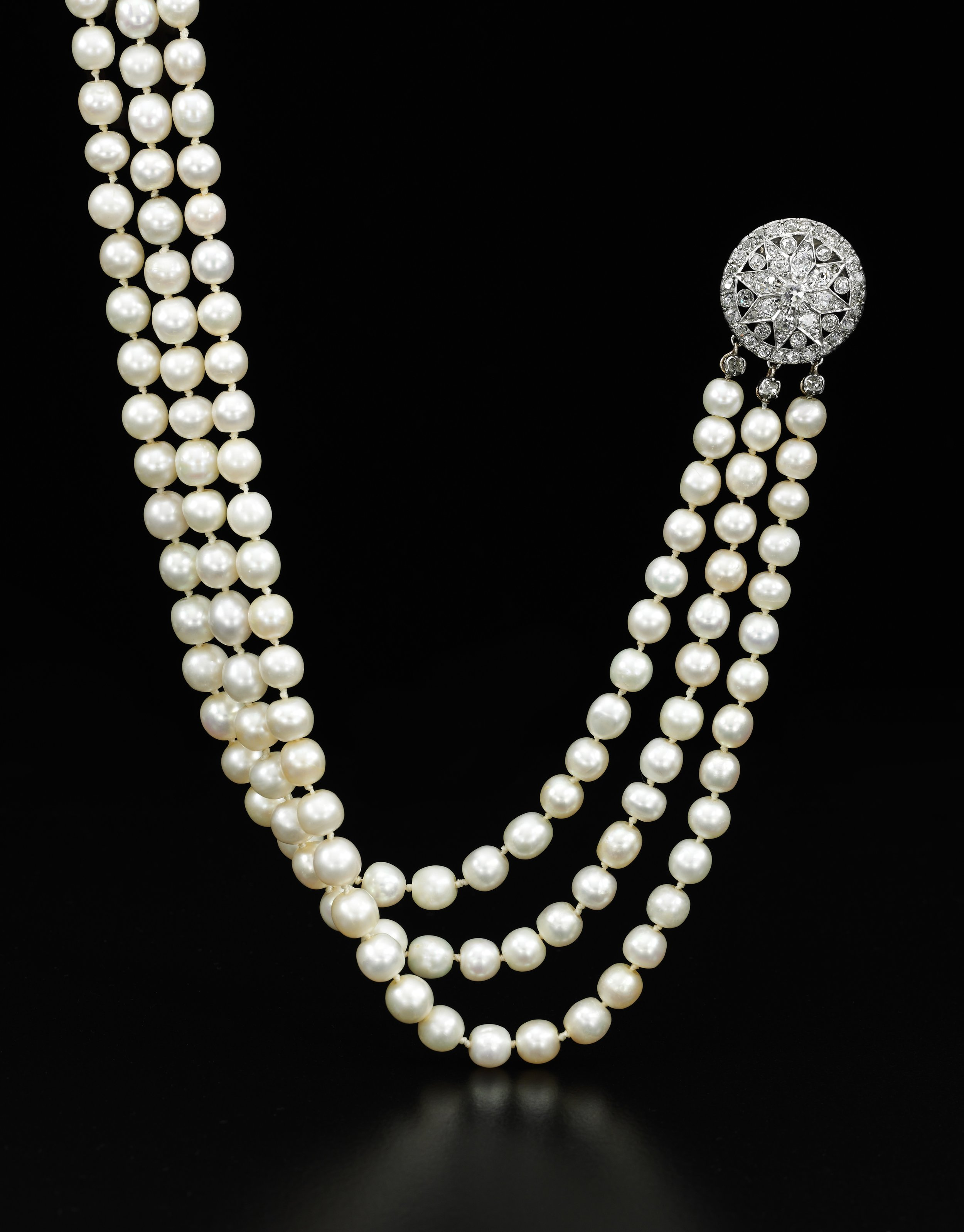 A natural pearl and diamond necklace - Royal Jewels from the Bourbon Parma Family - Sotheby's November 2018.