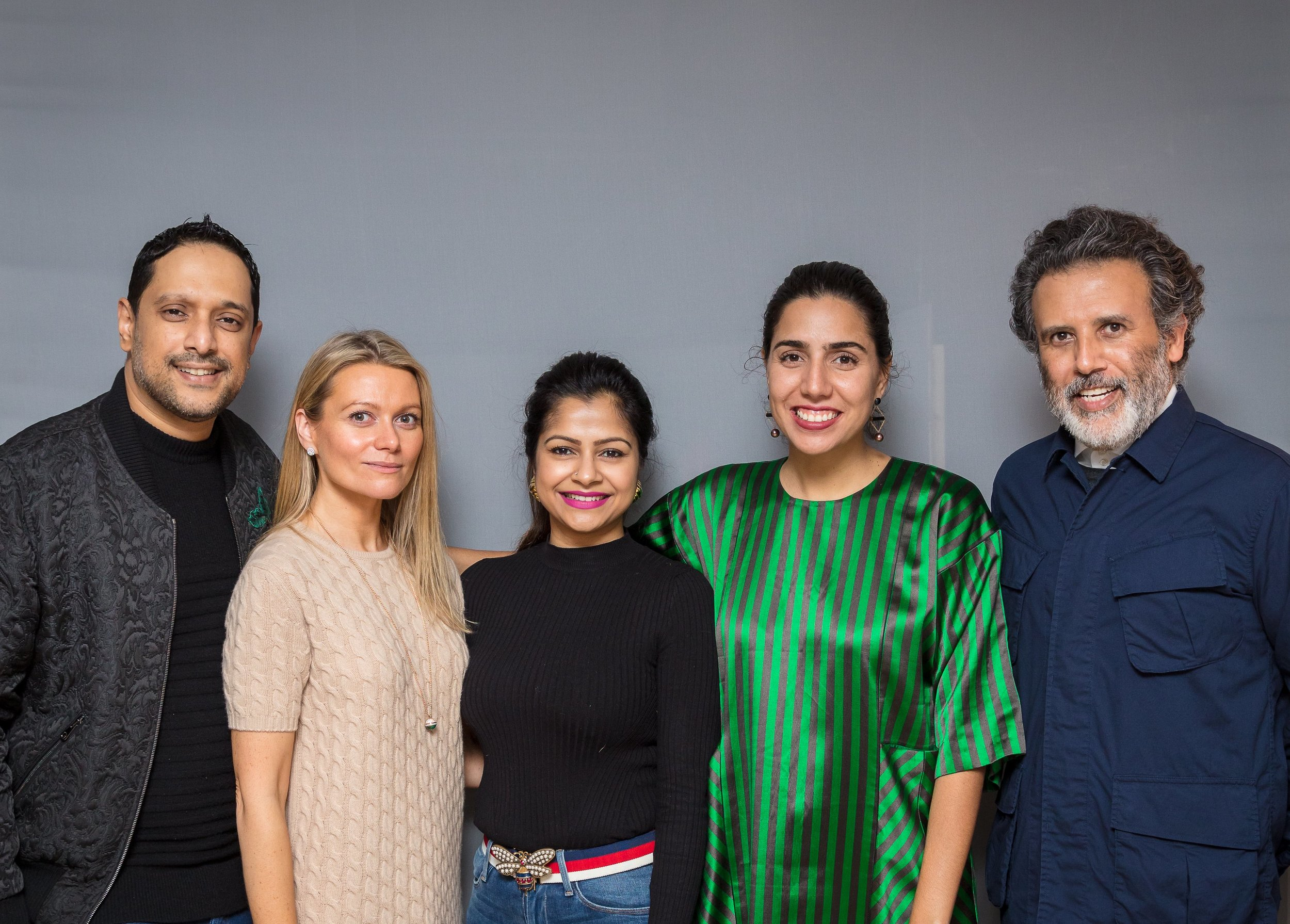 Pictured L-R: Rajeeb Samdani, Co-founder and Trustee of Samdani Art Foundation; Vilma Jurkute, Director of Alserkal Avenue; Nadia Samdani, Co-founder and President of Samdani Art Foundation; Diana Campbell Betancourt, Artistic Director of Samdani Art Foundation and Chief Curator of Dhaka Art Summit; Abdelmonem Bin Eisa Alserkal, Founder of Alserkal Avenue, Alserkal Programming and Alserkal Residency. Photo credit Dan Weill.