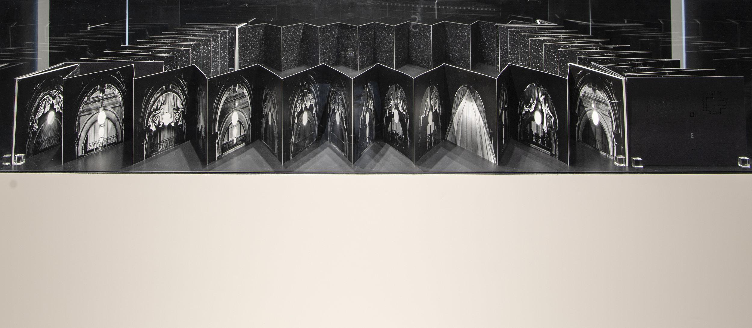 Ikko Narahara, Arcades of Light–Piazza San Marco, 1981. Book, 22 x 31.5 x 9.5cm. Installation view, Al Hamriyah Studios, Sharjah Art Foundation, 2018. Image courtesy of Sharjah Art Foundation