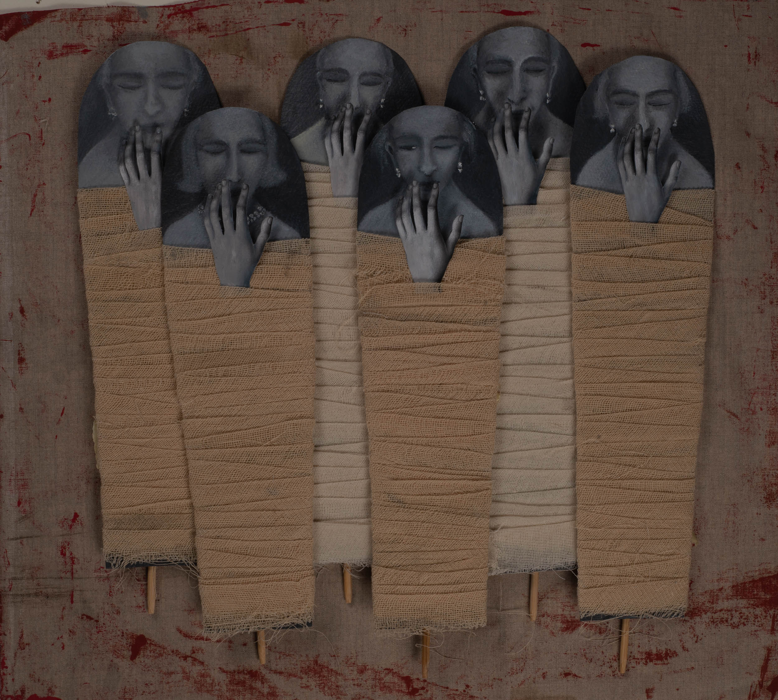 Huda Lutfi, Hand of Silence, 2018. Mixed media, oil on paper, fabric, wood (detail). Courtesy of the artist adn The Third Line.