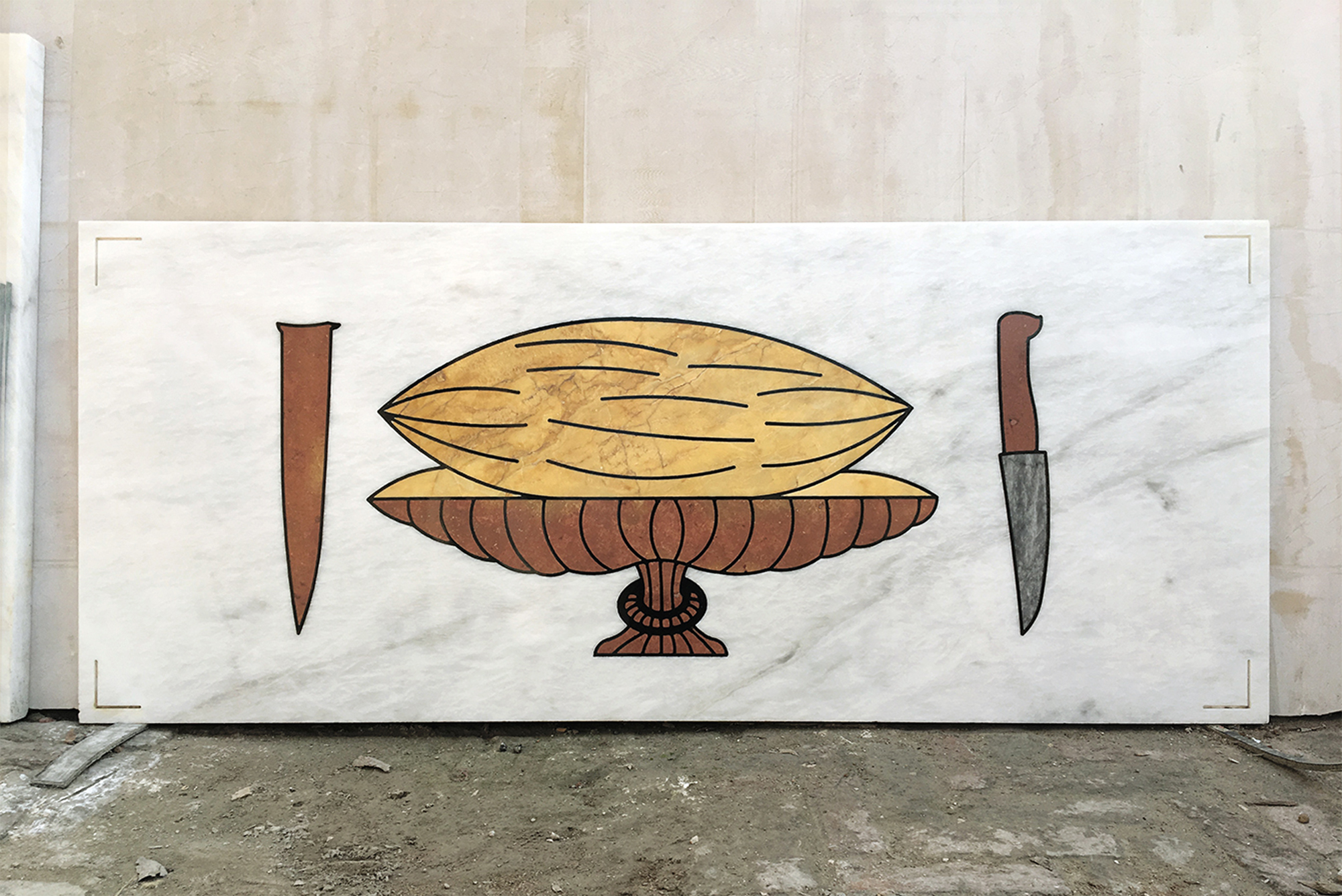 Hamra Abbas, Fruits: Gardens of Paradise, 2018. Marble, 2 x 5 feet. Courtesy of the artist