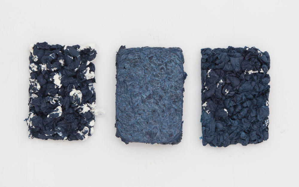 Hassan Sharif, Blue, 2016. Set of 3. Tissue, glue and oil paint. Courtesy of Gallery Isabelle Van Den Eynde.
