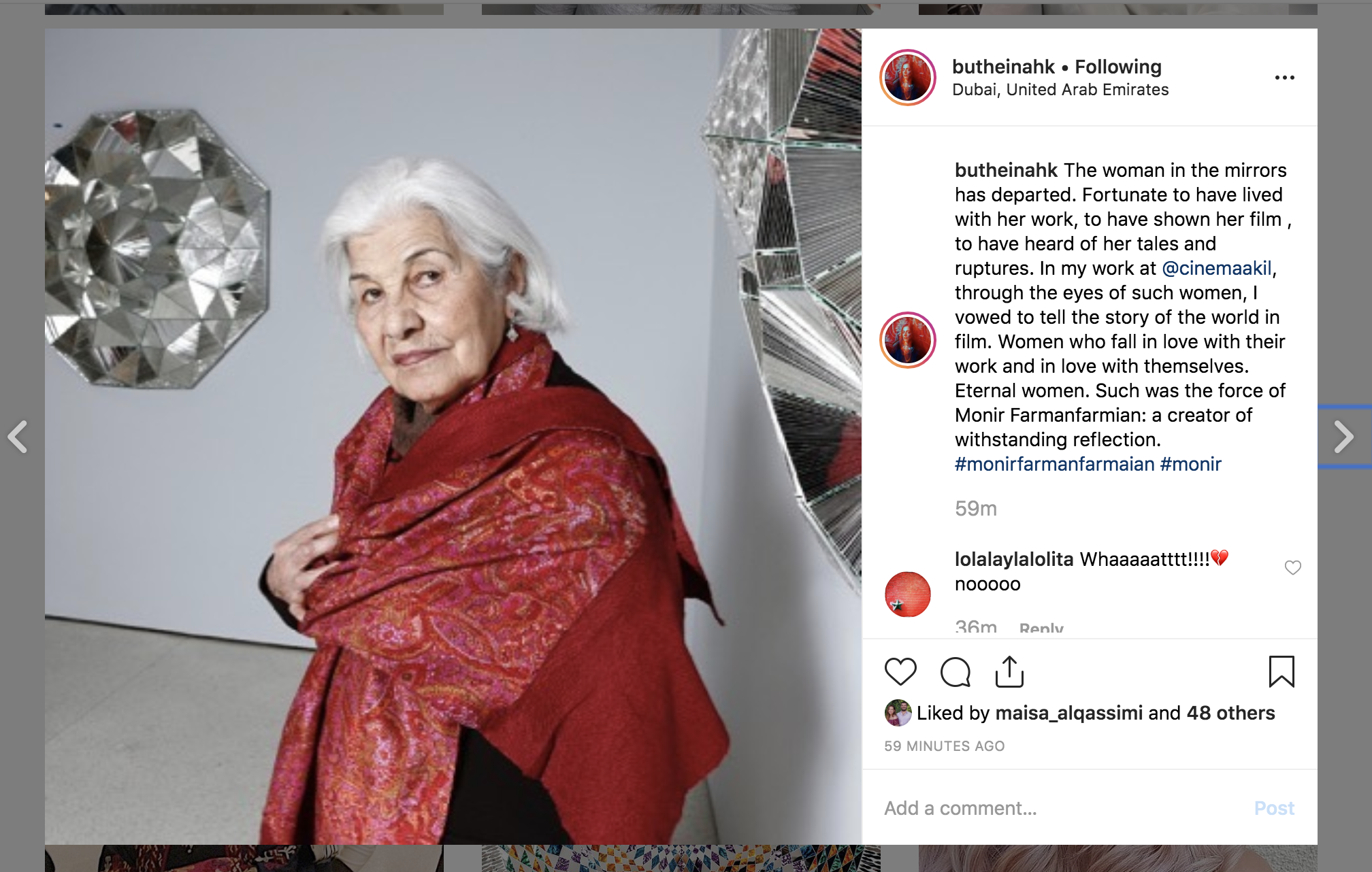 Butheina Kazim, founder of Cinema Akil pays tribute to the 'woman in the mirrors'. Screenshot taken from Instagram.