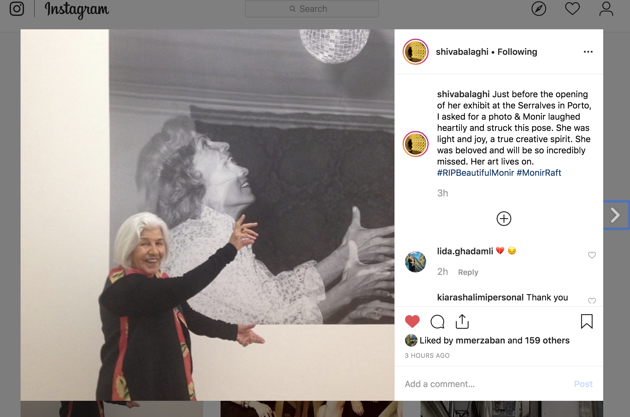 Dr Shiva Balaghi, art historian, scholar and curator posts a personal picture of Monir on her instagram feed to commemorate her death.