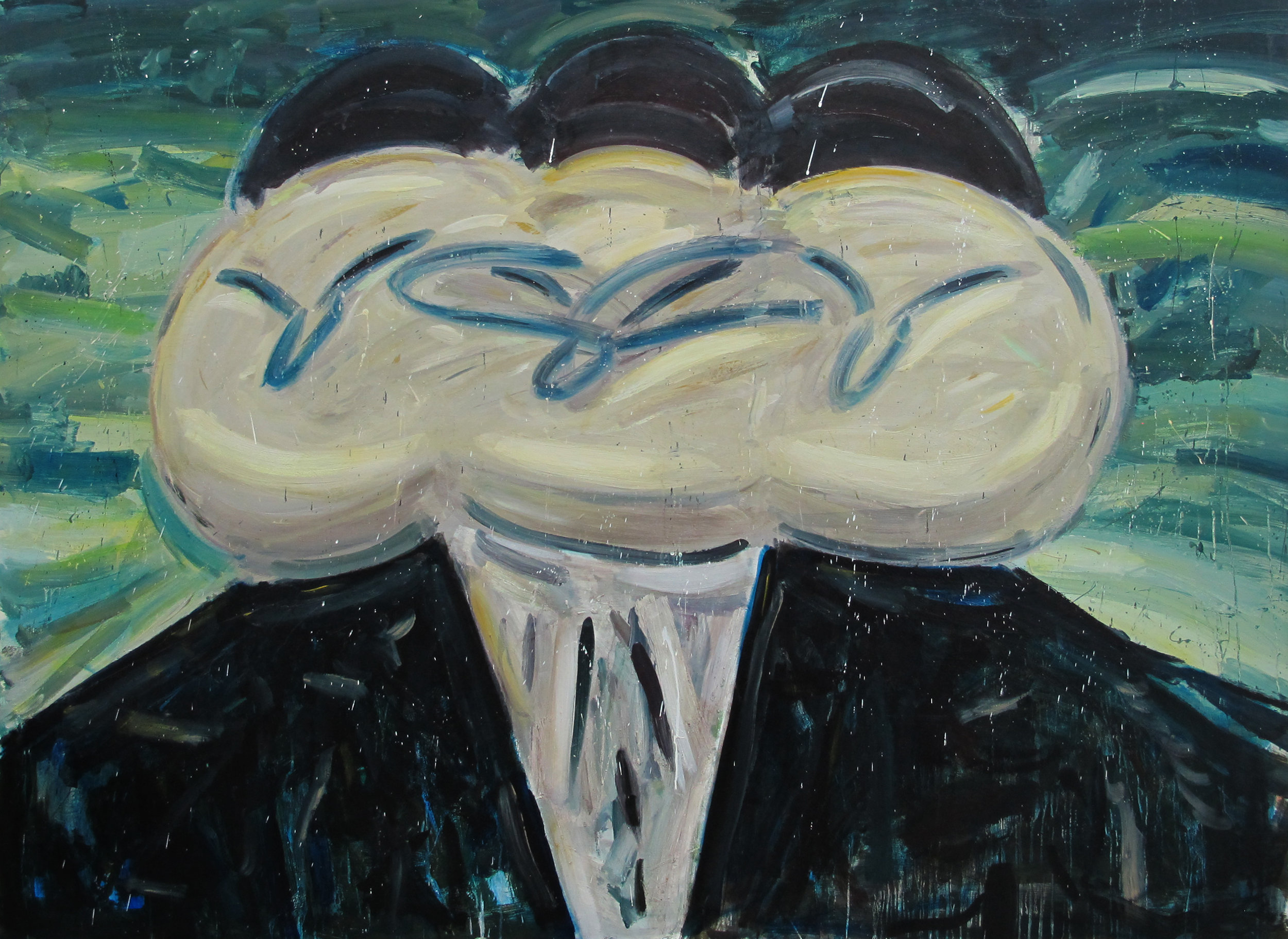 Amir Khojestah, Three Holy Heads #4, 2019 Oil on canvas 196 x 145 cm. Courtesy of the artist and Carbon 12