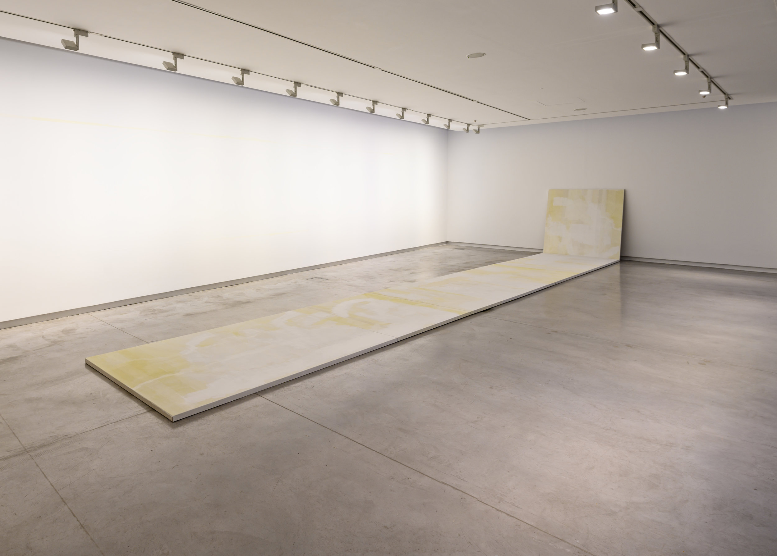 Dale Harding,  Untitled (Private painting H1),  2019. Dry pigment, gum arabic and acrylic on linen and walls; 3 x (250 x 150 cm), 3 x (150 x 150 cm); overall dimensions variable. Installation view:  Surface Tension,  Sharjah Art Foundation, Sharjah, 2019. Commissioned by Sharjah Art Foundation. Courtesy of the artist and Milani Gallery, Brisbane. Photo: Sharjah Art Foundation