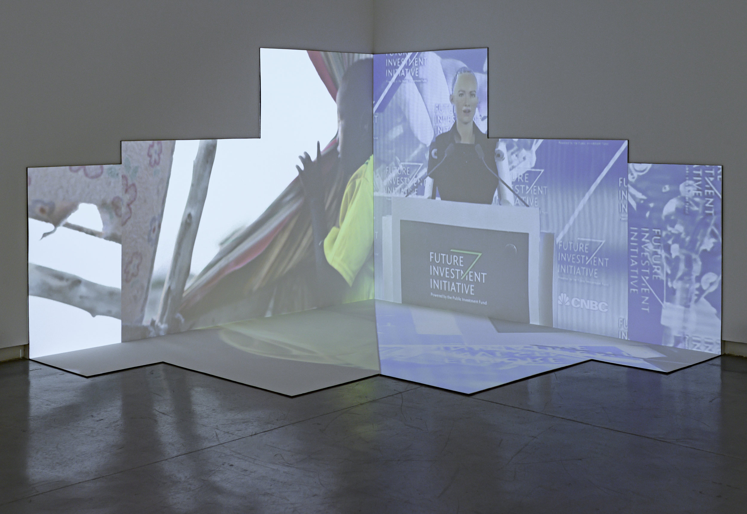 Mohammad Al Faraj,  Sophia,  2018–2019.Video installation, plywood, computer, stereo speaker;3 x 3 x 3 m, 10 minutes. Installation view:  Surface Tension,  Sharjah Art Foundation, Sharjah, 2019. Courtesy of the artist and Athr Gallery, Jeddah. Photo: Sharjah Art Foundation