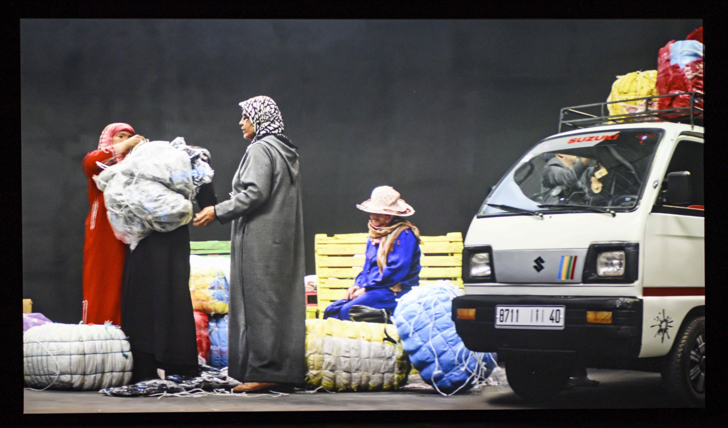 Randa Maroufi,  Bab Sebta,  2019. HD video; 19 minutes. Installation view:  SurfaceTension,  Sharjah Art Foundation, Sharjah, 2019. Courtesy of the artist. Barney Production -Montfleuri Production. Photo: Sharjah Art Foundation