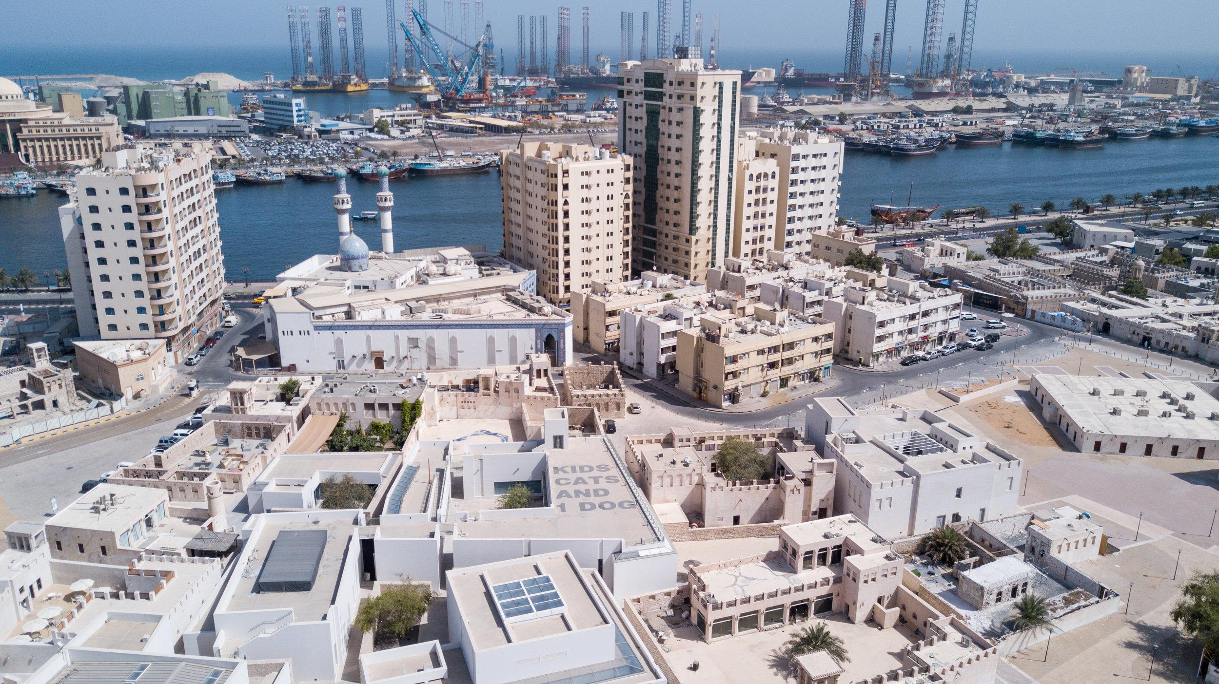 Sharjah Art Foundation Art Spaces in Al Mujeirah (aerial view). Courtesy Sharjah Art Foundation.
