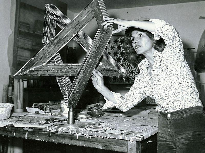 Monir Shahroudy Farmanfarmaian in her salon in Tehran, 1975. Courtesy The Third Line.