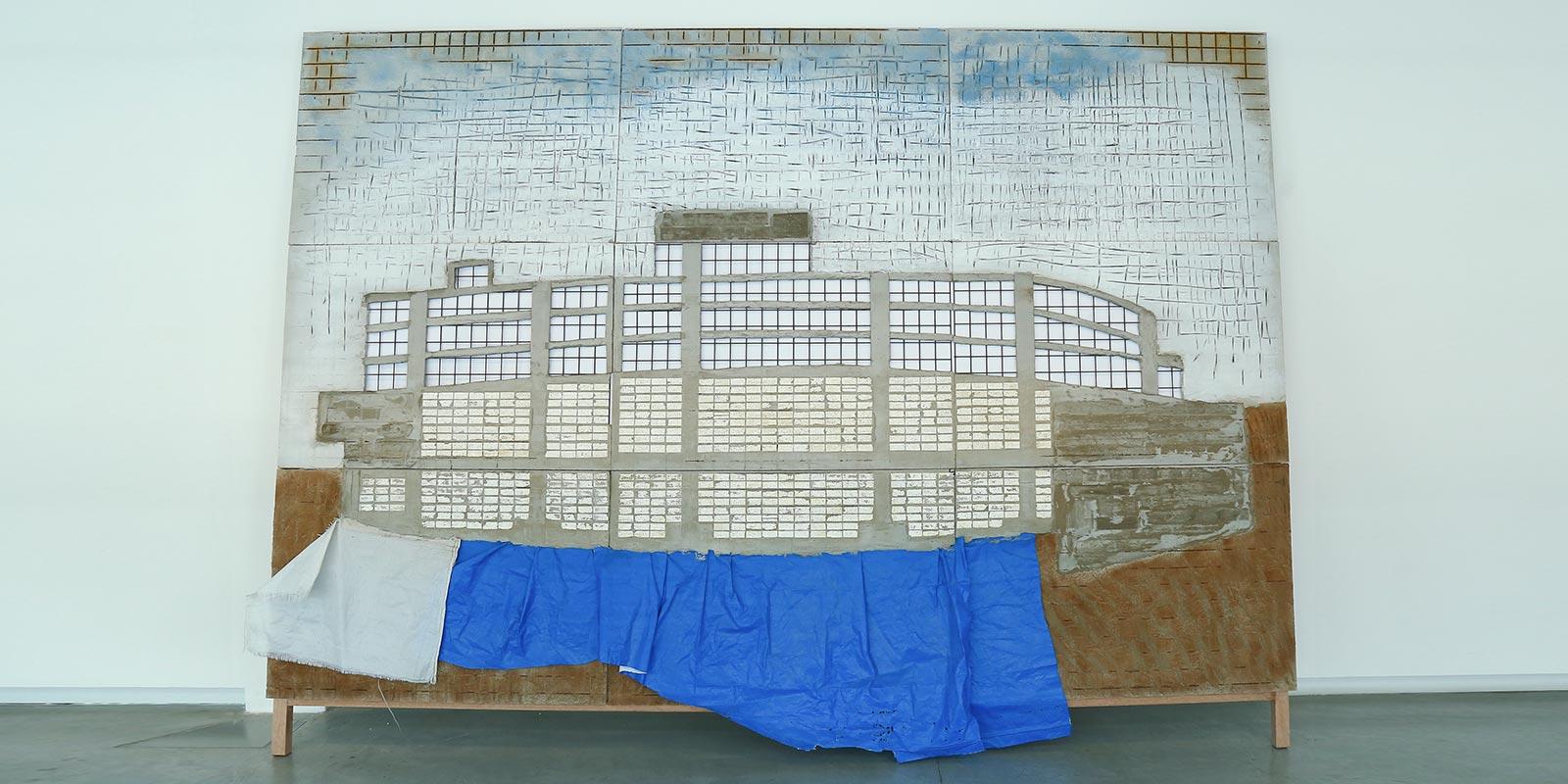 Marwan Rechmaoui, Blue Building, 2015. Concrete, iron, nylon, soil, Styrofoam. Image taken from Hadara Magazine website.