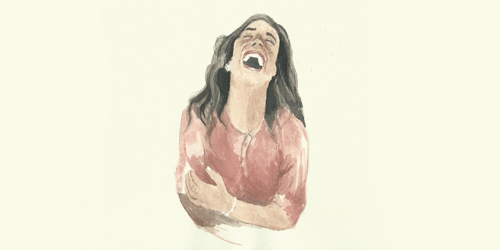 Bani Abidi, ...and they died laughing, 2016. Water colour on paper. From the exhibition  They Died Laughing . Image taken from the Hadara Magazine website.