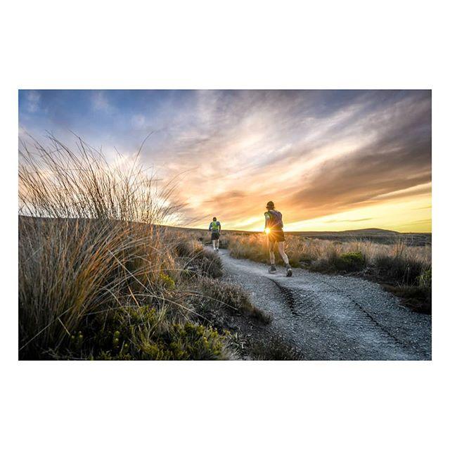 Running into the sunset along the Tongariro Northern Circuit