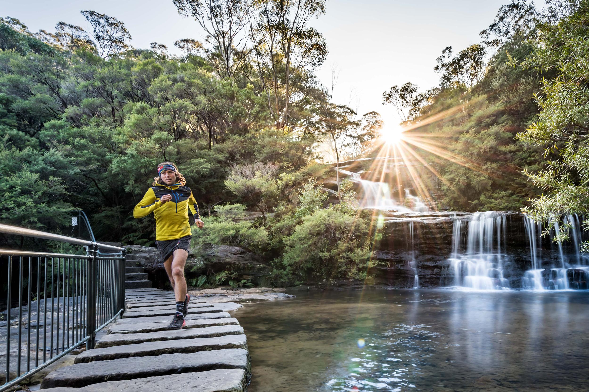 Elite runner Majell Backhausen at Wentworth Falls, Blue Mountains Australia