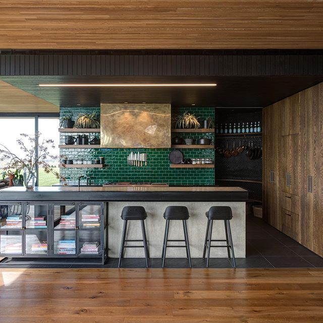 More first class timber work inside at 'Bella-bella' house. Those spalshback tiles pop...@antheadaly🔥🔥 . . . . @addarc 📷@jaimediazberrio  #farmhouse #australianarchitecture #architecture #melbournearchitecture #coastalfarmhouse #thegoodlife #concretecountertops #timberfloors