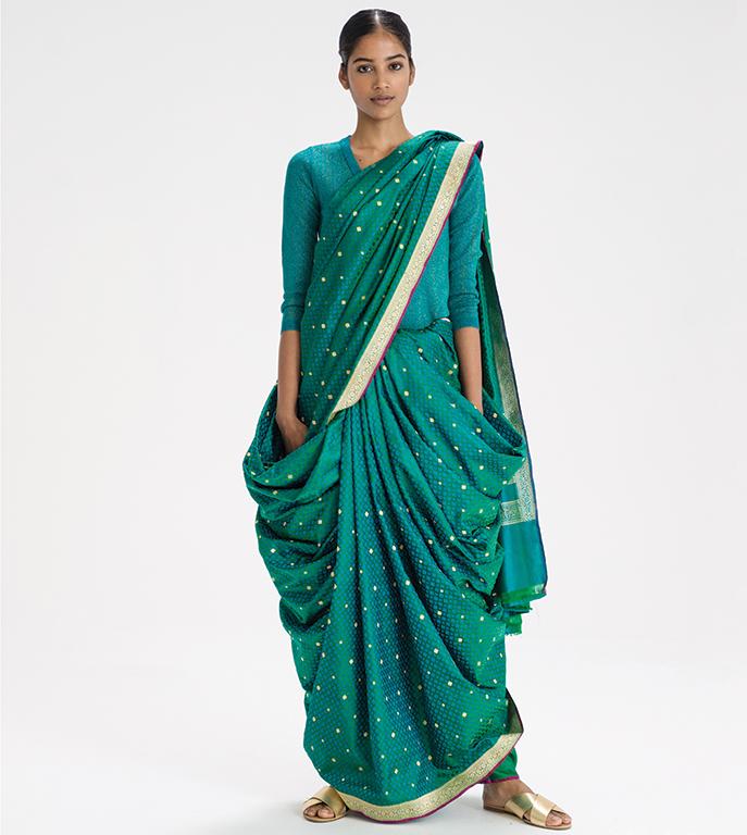 Boggili posi kattukodam sari drape from Andhra Pradesh