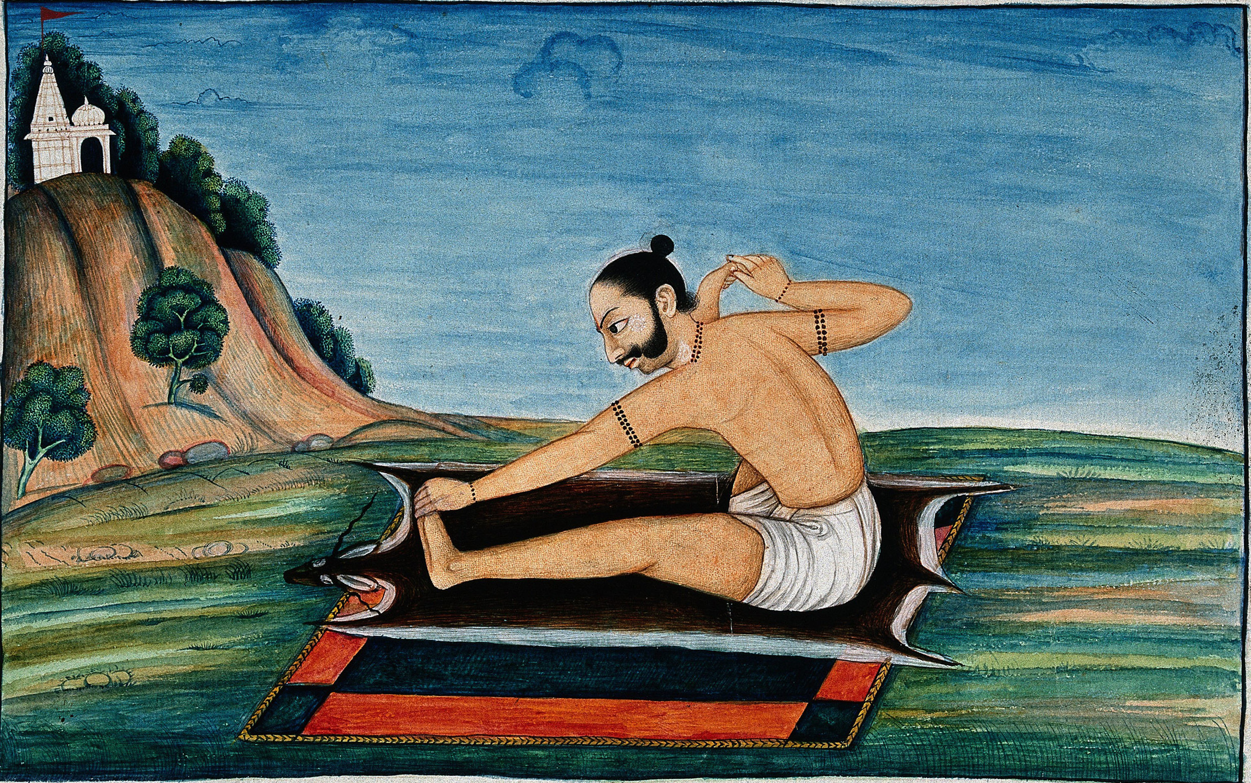 An Indian person in a yogic posture, gouache painting, 19th Century. Wellcome Library, London.