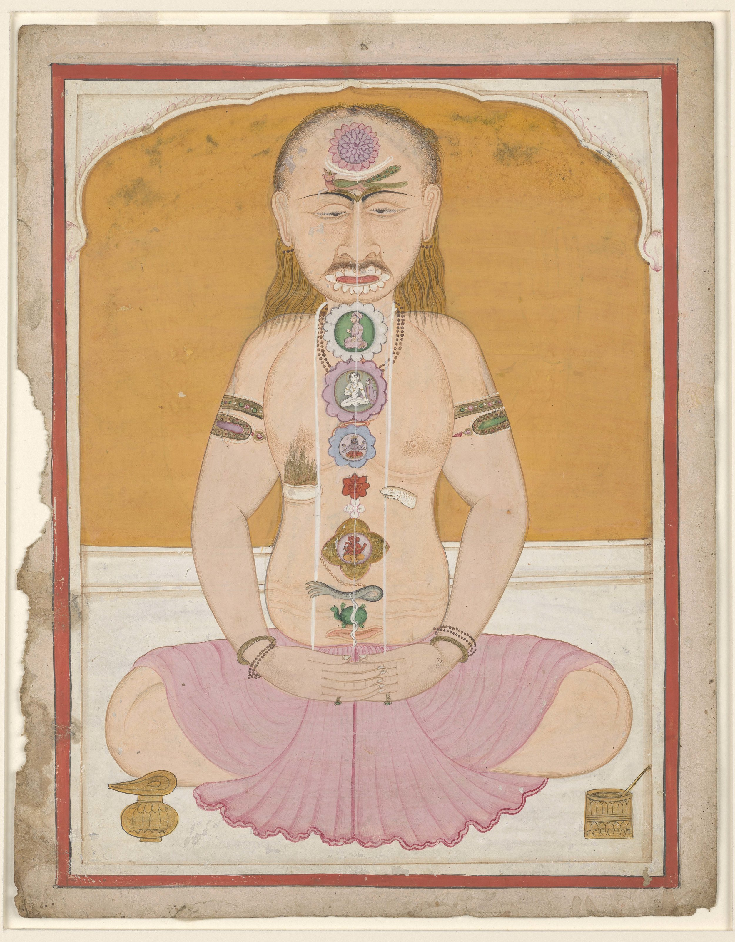 A meditator shown with chakras and kundalini, gouache on paper, 19th century