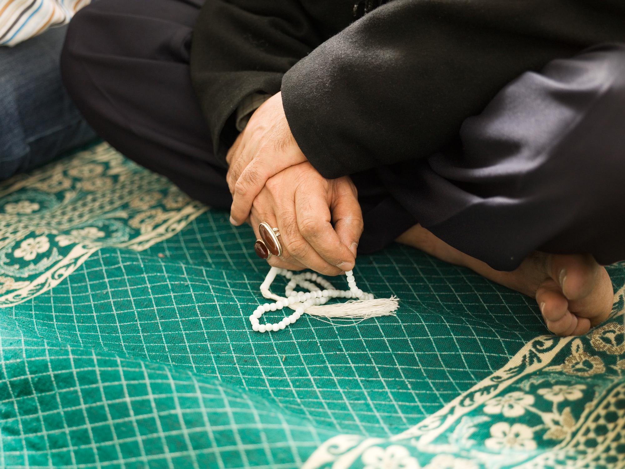 VCH Bristol. Daral-Imaan Mosque, Apsley Road, Eastville, Bristol. Interior, detail of prayer beads.