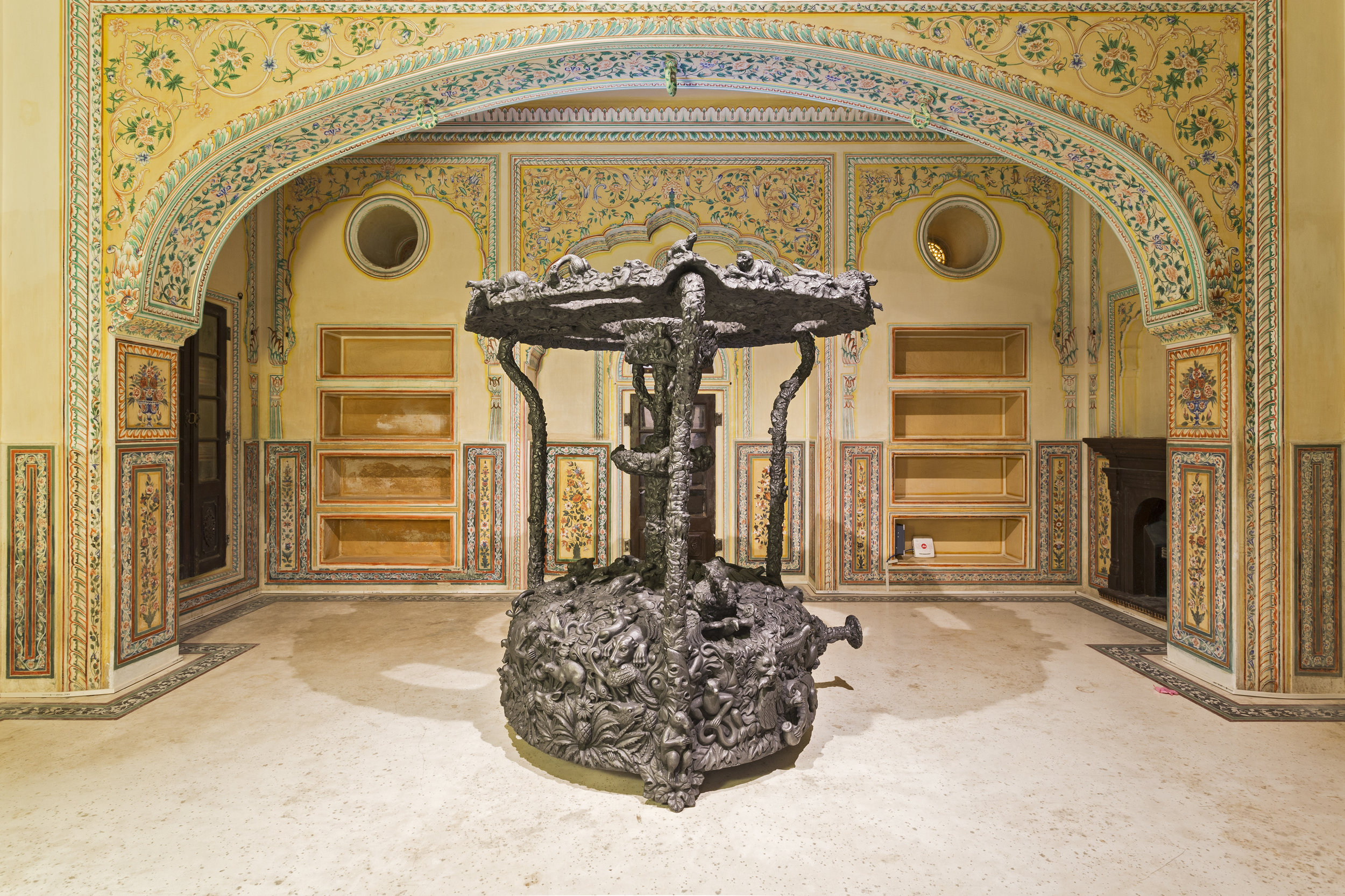 'Annexation' by Jitish Kallat is among the 62 sculptures by around 25 artists presented in the space