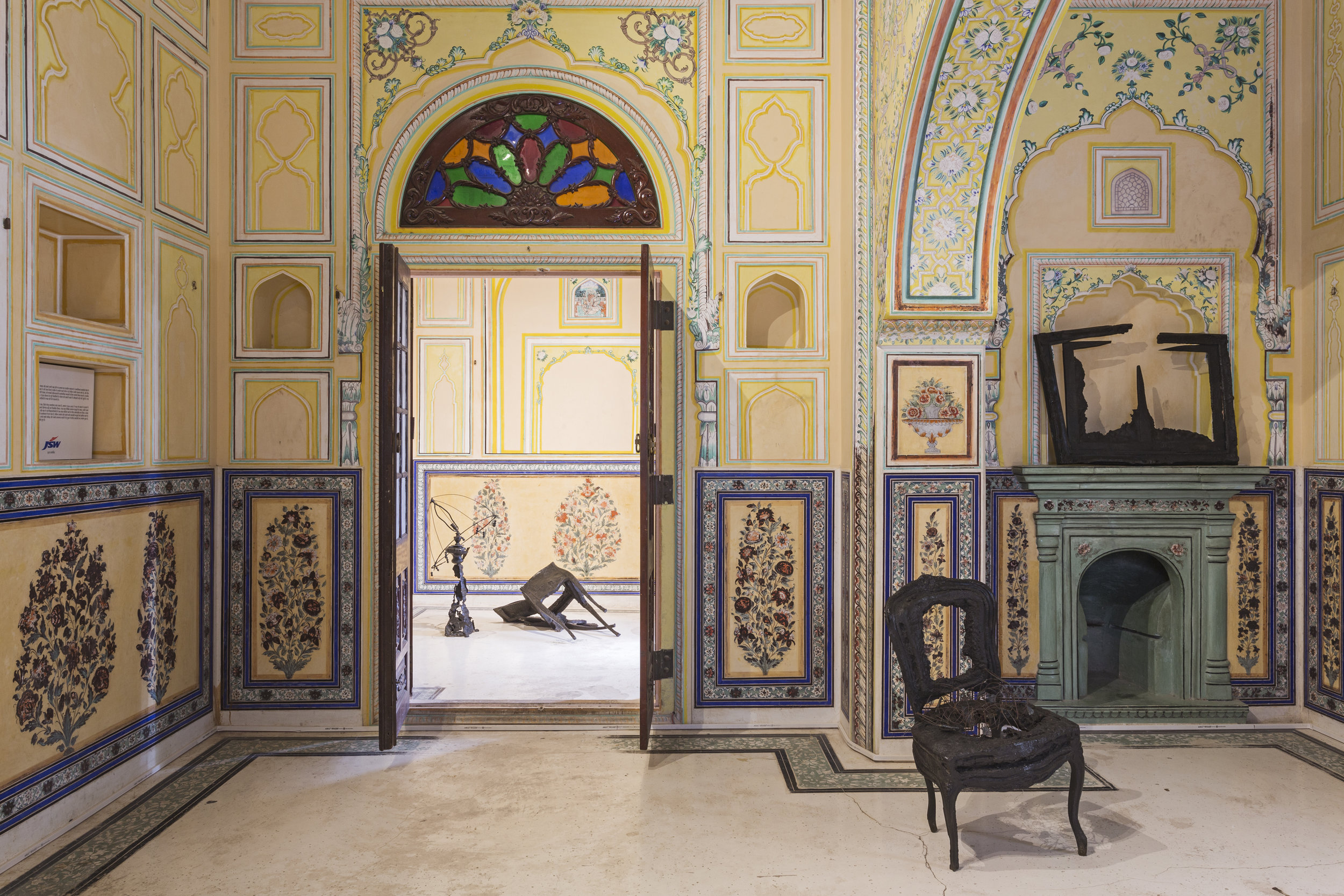 'The Day After' by French-American artist Arman is one of the works found inside the palace's rooms, many of which maintaining their original frescos