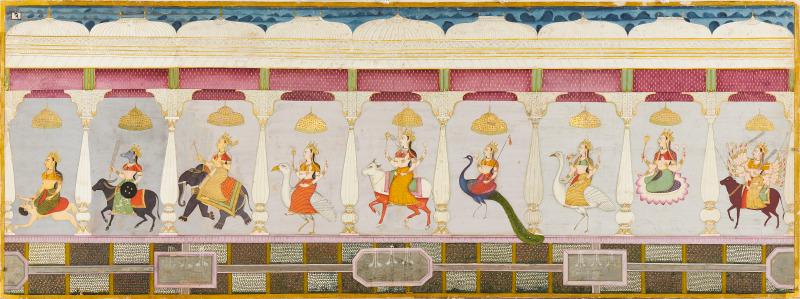 Nine Forms of the Goddeess, Folio 2 from  Durga Charit  (1780-90), Jodhpur, Mehrangarh Museum Trust. Image courtesy of Neil Greentree/SAM.