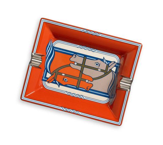 Hermes ashtray in printed Limoges porcelain with velvet goatskin base.jpg