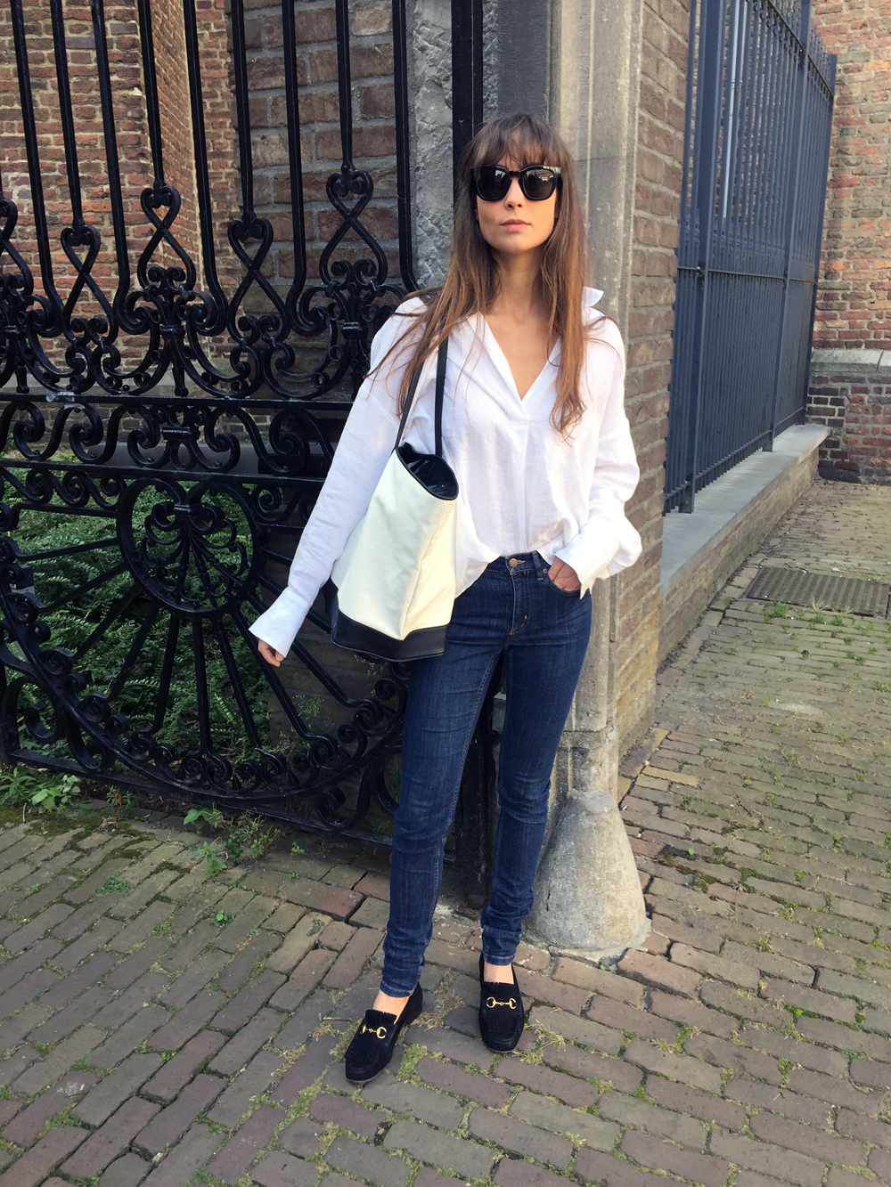 Givenchy sunnies - Zara shirt - COS denim - Haus of Mana bag - Gucci Loafer. 5.PNG