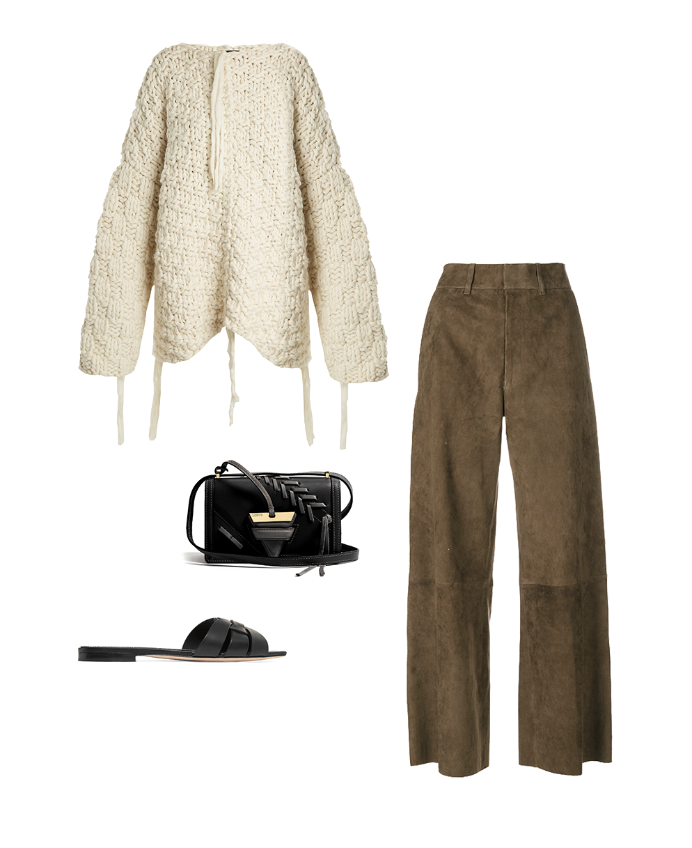 Joseph sweater and trousers, Loewe bag, Saint Laurent slipper.png