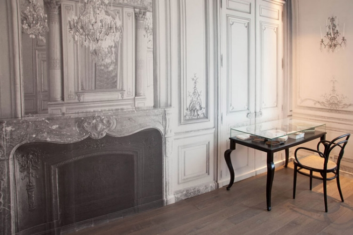La-Maison-Champs-Elysee-by-Martin-Margiela-Gilded-Lounge-Suite-fireplace-wallpaper-desk.jpg