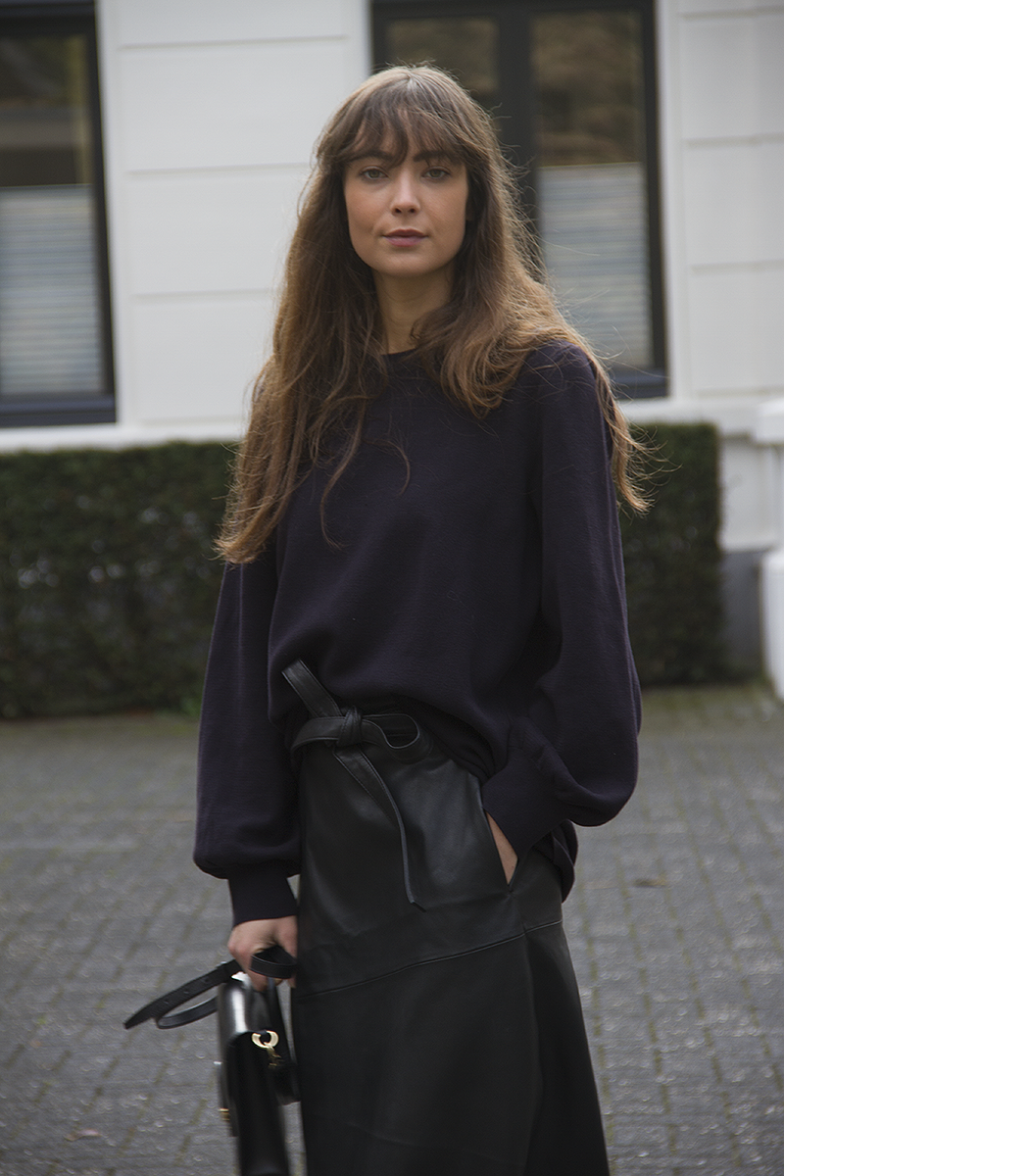 Cos sweater, Maje leather wrap skirt, Axel Arigato sneakers, Ralph Lauren bag 6.png