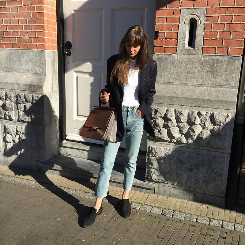 Zara blazer, Ralph Lauren turtleneck, CoH jeans, Cos loafer, Maison Heroine bag 2.png