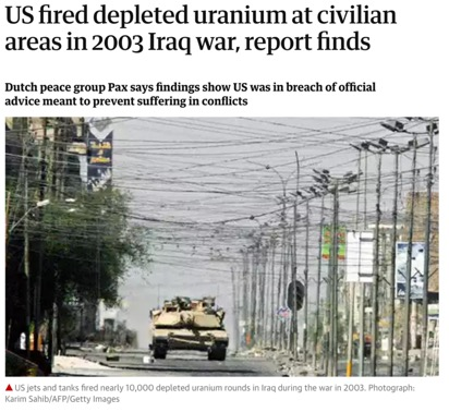 REPORTING ON THE USE OF US DEPLETED URANIUM IN 2003,   GUARDIAN