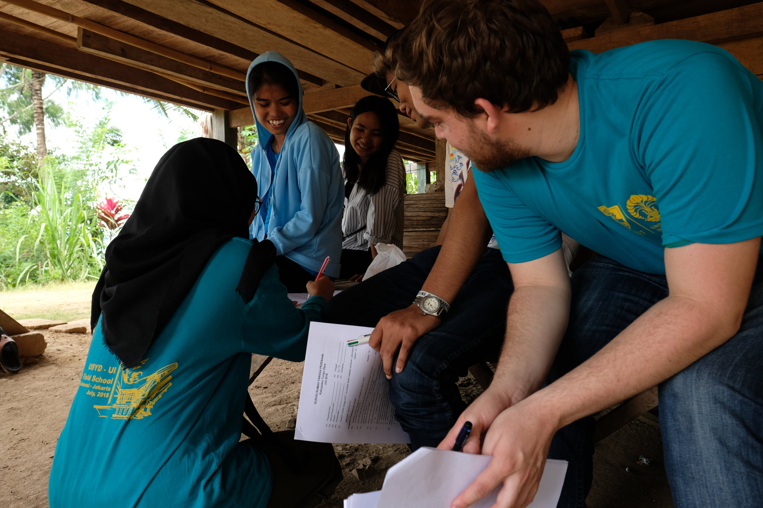 We conducted surveys in the field for 2 days, and our hosts (who were studying to become english teachers) conducted many of our interviews in Torajan, which were then translated to Bahasa Indonesian to our Universitas Indonesian students, and then to English.