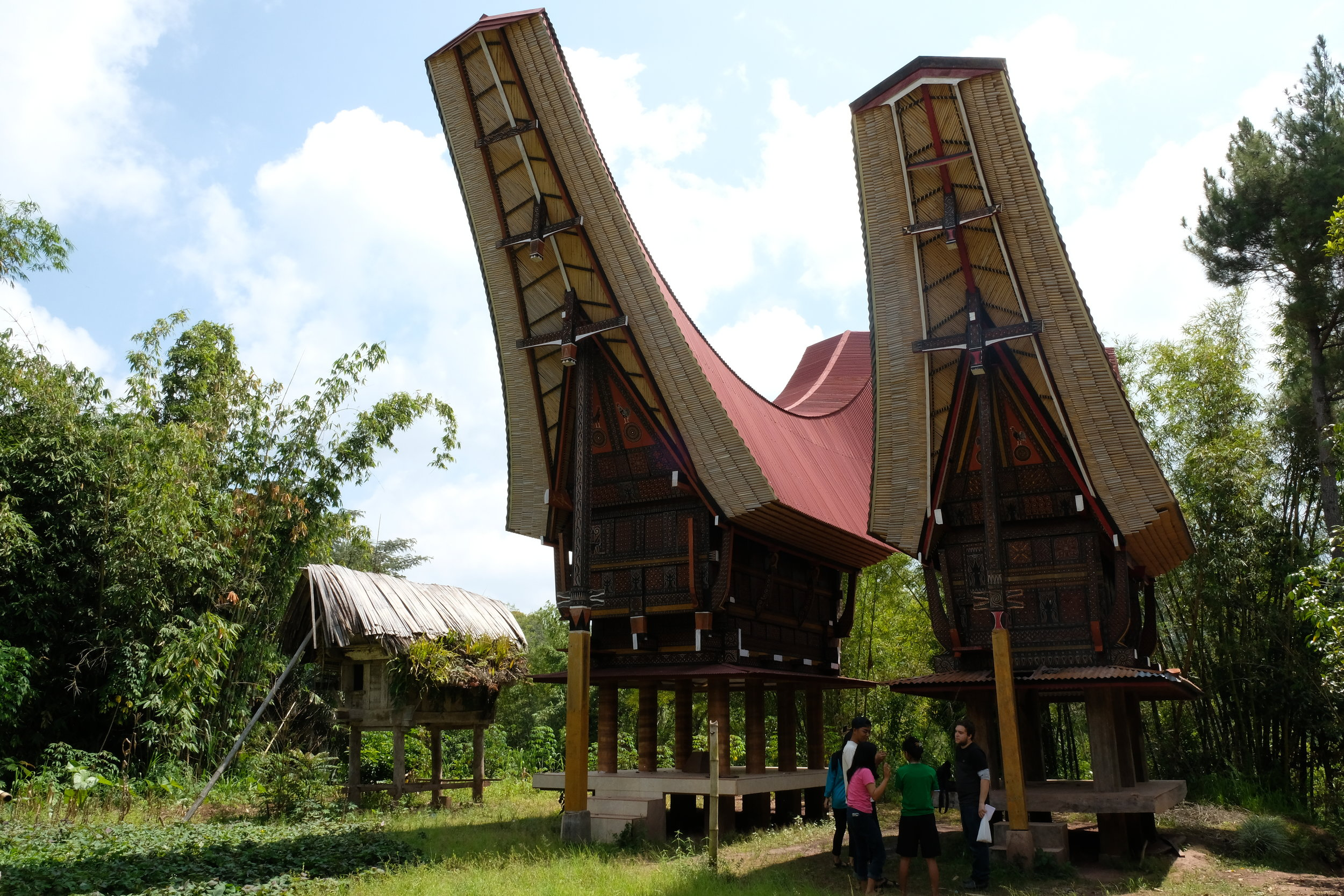 Tongkanon are traditional ancestral houses, with their visual dominance over the landscape very much reflecting the importance of funerals and death in Torajan society. In Toraja, the funeral is the centerpiece for which society, and the economy revolves around. While in some western societies, much money is dedicated to houses, or weddings, in Toraja affluence is often by how large your funeral is. A large funeral can go for 5+ days, involves the entire community and includes up to 100 animals being sacrificed. A prized buffalo can cost up to $100 000 (AUD), although most range from $1000- $10 000. It is not uncommon for the body to be preserved, and funerals to occur 3-5 years after the individuals death, although the longer you wait, the more the community expects a large event.
