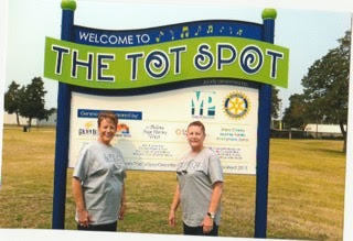 Mary Cramer and Renee Johnson at the dedication fo the Tot Spot.