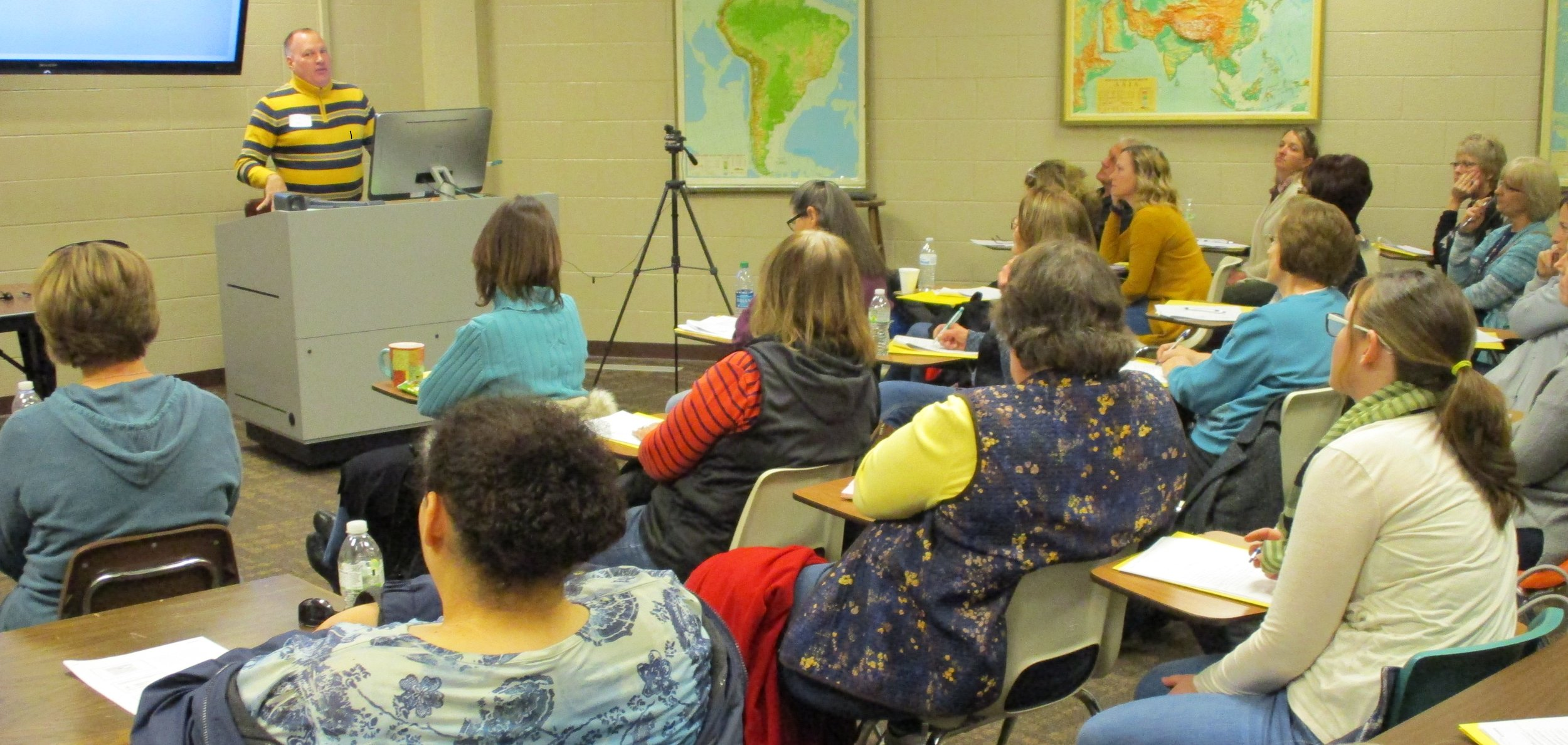 Autism Disorder Workshop main speaker Dr. Jim Ball explains different approaches when working with Autistic Children at the April 7, 2018 workshop.