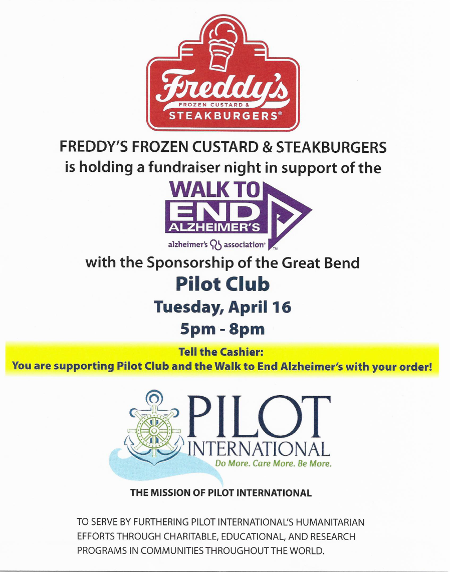 Bring your family, friends and co-workers and join us at Freddie's for fellowship and support Alzheimers.
